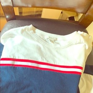 Long sleeve red white and blue shirt